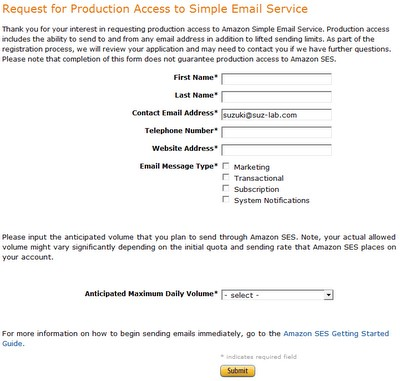 Request for Production Access to Simple Email Service
