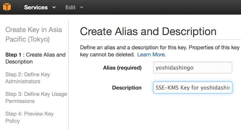 AWS Key Management Service(KMS)を用いたS3サーバーサイド暗号化(SSE-KMS): KMS鍵を作成する(4)