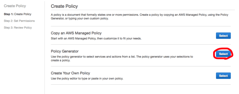 Amazon S3 Policy Generator  の在り処: Policy Generator を Select
